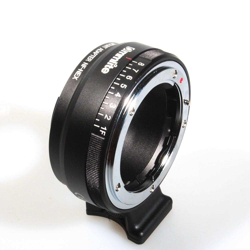 Commlite, adaptateur de monture d'objectif avec cadran d'ouverture, pour objectif de type Nikon G, DX, F, AI, S, D vers adaptateur d'appareil-photo NEX à monture électronique Sony