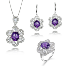 L&zuan Luxury 925 Siver Jewelry Natural 7.25ct Amethyst Pendant & 7.02ct Amethyst Earrings & 7.05ct Amethyst Ring