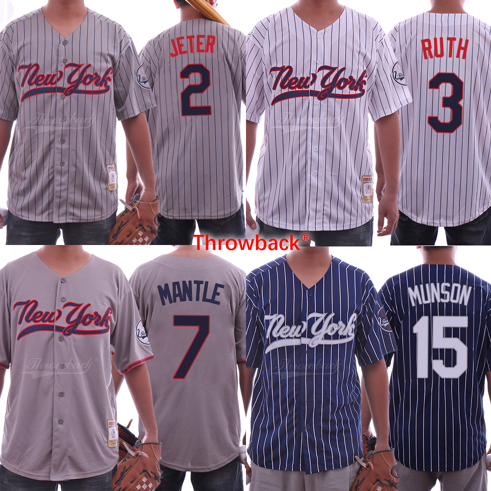 Throwback Baseball Jersey New York Jerseys 2 Derek Jeter 3 Babe Ruth 7 Mickey Mantle 15 Thurman Munson Shirt Free Shipping цена