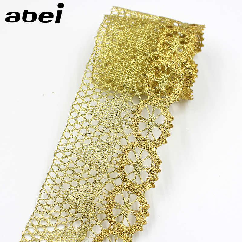 7cm Wide, 10yards Gold Thread Knitted Lace Ribbon Trims Wedding Party Home Decoration DIY Handmade Patchwork Lace Supplier