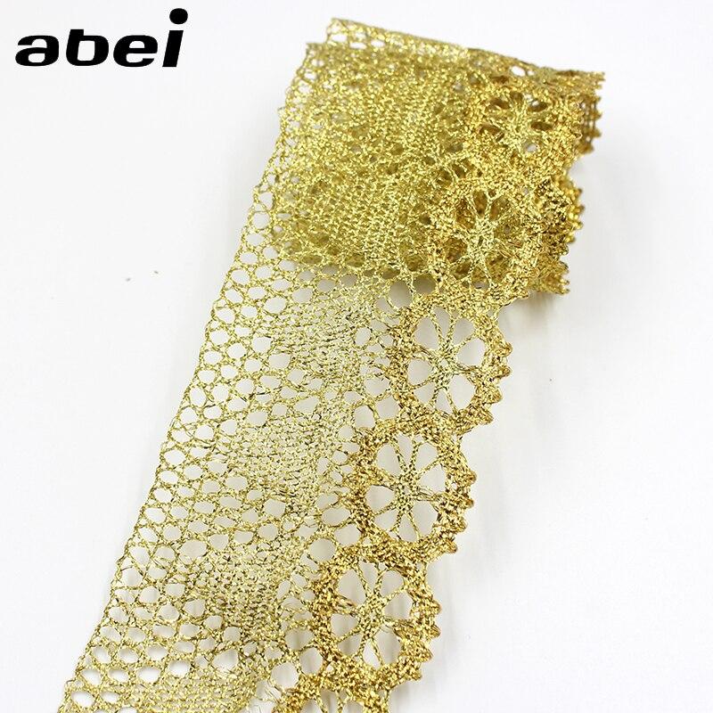 7 см в ширину, 10 ярдов, золотая нить, трикотажное кружево, женское свадебное украшение для дома, «сделай сам», лоскутное кружево, поставщик