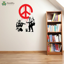 Wall Decal Vinyl Sticker Banksy Peace Propaganda symbols With Soldier Home House Art Decoration Poster Mural Design WW-416