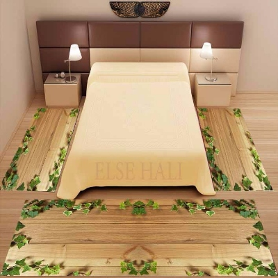 Else 3 Piece Brown Wood On Green Leaf Ivy 3d Pattern Print Non Slip Microfiber Washable Decor Bedroom Area Rug Carpet Set