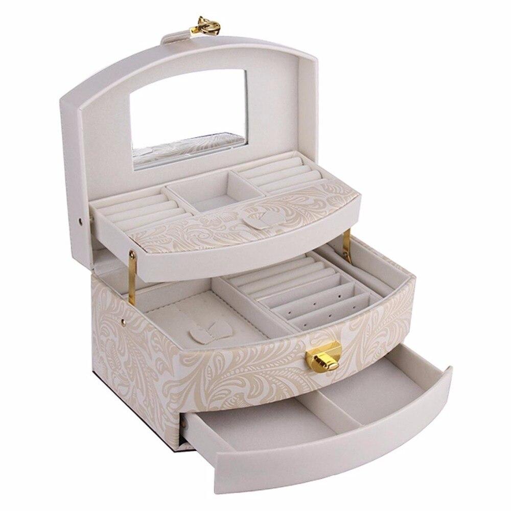 ROWLING Высокое качество коробки для ювелирных изделий и упаковка цветочный узор искусственная кожа дисплей коробка Авто-открыть три слоя чех...