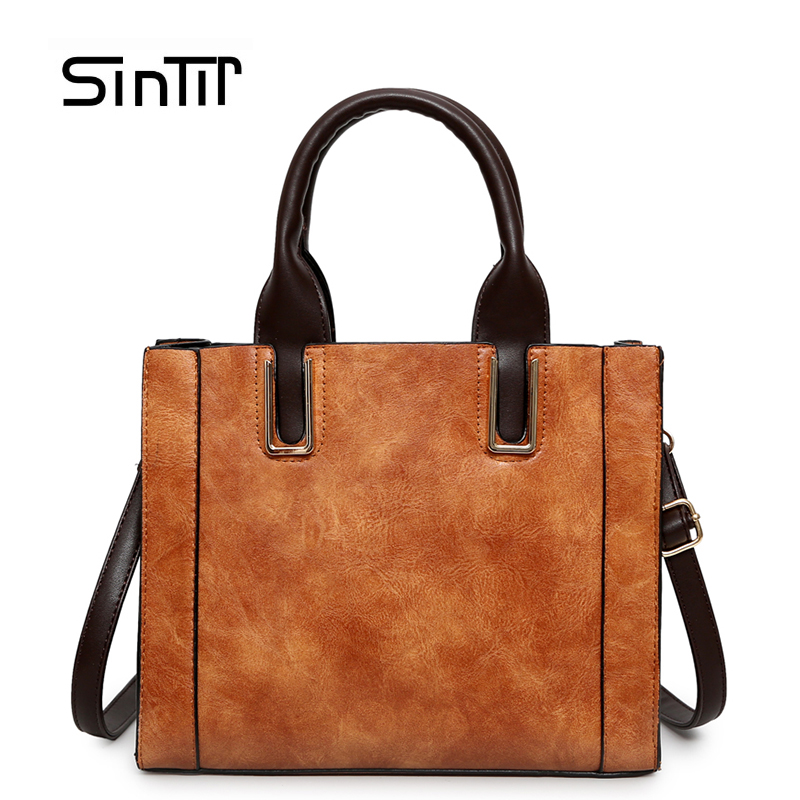 SINTIR Brand Women's Vintage CrossBody Bag Female Handbags PU Leather Large Capacity Tote Bag Casual Girls Black Messenger bags wholesale blanks pu faux leather handbags casual tote bag large capacity square satchels bag dom1038113