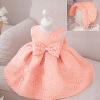 2Pcs Set Baby Girl Summer Lace Dress Hat Christening Baptism Clothes Sets Infant Birthday Wedding Party