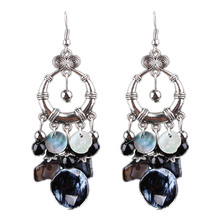 Th New Black Exaggeration  Earrings And Retro Long  Hollow Jewelry Earrings Tassel Drop For Women