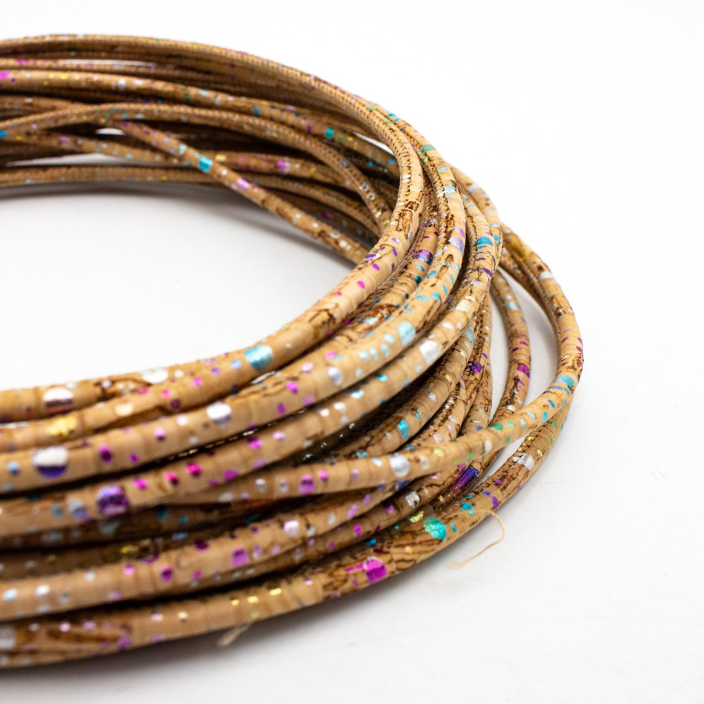 10 Meters 3mm Round Colorful Cork Cord Portuguese Cork Jewelry Supplies /Findings Cord Vegan COR-356