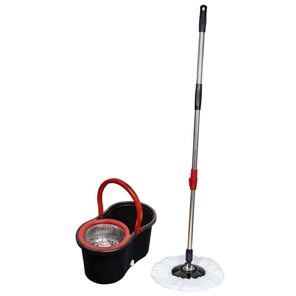 SOKOLTEC Suspension Mop Whee Bucket Hand Free Wringing Stainless Steel Mop Self Wet Spin Cleaning System Dry Cleaning Microfiber