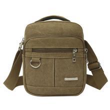 Fashion Canvas Men Zipper Shoulder Bag High Quality Crossbody Black Khaki Brown Handbag Backpack