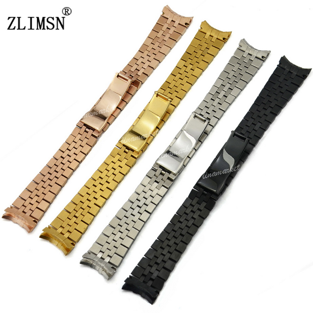 ZLIMSN 13 20mm 316L Solid Stainless Steel Deployment Clasp Watchband With Curved End Silver/ Black/ Gold/ Rose Gold Watch Strap