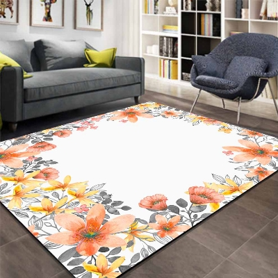Else Orange Yellow Watercolor Frame Flowers 3d Print Non Slip Microfiber Living Room Decorative Modern Washable Area Rug Mat