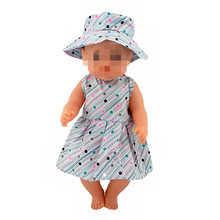 Doll Clothes Born Baby Fit 18 inch 43cm Girl gray Hat and Flower Skirt Suit accessories For Gift