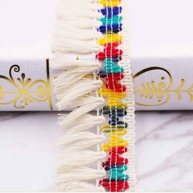High Quality Cotton Thread Fringed Curtain Ribbon Trim Home Decor Trims Trimmings Embellished Fabric Fringe Tassel