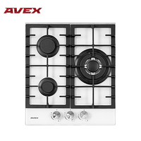 Built in Hob gas on glass with cast iron grilles AVEX HM 4534 W Home Appliances Major Appliances gas cooking Surface hob cookers