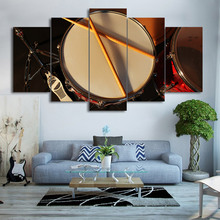 Canvas Print Wall Art Pictures 5 Pieces Music Drum Paintings Painting Vintage Poster Modern Artwork Home Dec