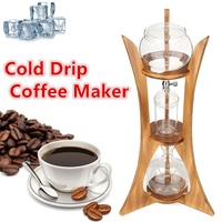 8 Cups Cold Drip Ice Syphon Coffee Pot Maker Glass Dutch Brew Machine with Filter Paper Home Kitchen Coffee Tool Wood Frame