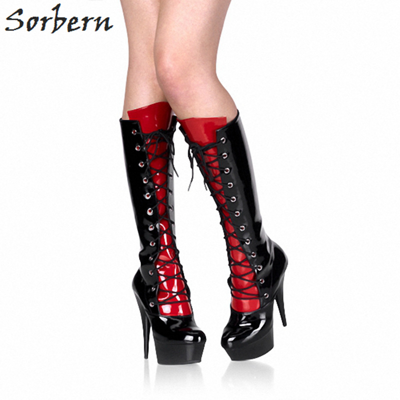 Sorbern Black Shiny Knee High Boots For Women Spike High Heel 15Cm Platform Shoes Punk Boots Women Booties Womens Shoes все цены