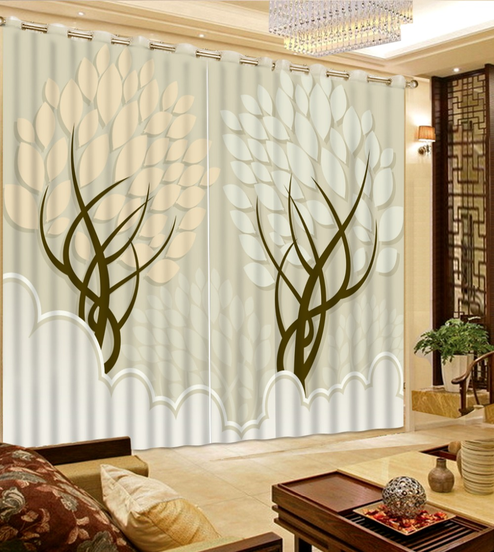 Chinese Curtain Photo brief tree leaf brige Window Curtain For Living room Bedroom Curtains Blackout Hooks|window curtain for living|curtains for|curtains for living room - title=
