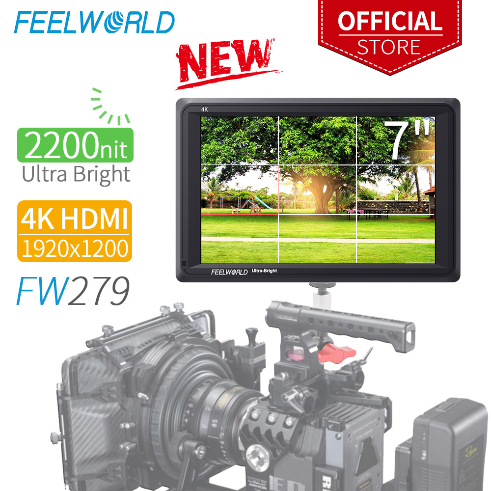 FEELWORLD FW279 7 Inch Ultra Bright 2200nit On Camera Field DSLR Monitor Full HD 1920x1200 4K HDMI Input Output High Brightness