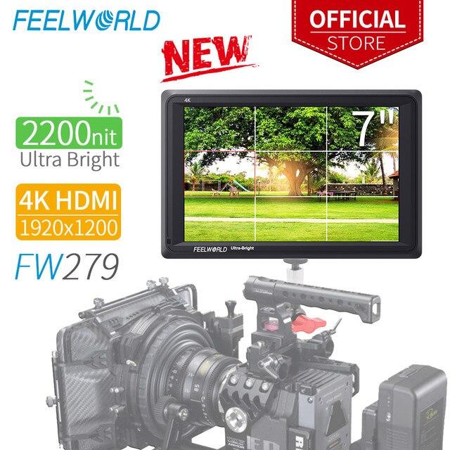 Feel world FW279 شاشة 7 بوصة فائقة السطوع 2200nit على مجال الكاميرا DSLR شاشة كاملة HD 1920x1200 4K مدخل HDMI الناتج سطوع عالية