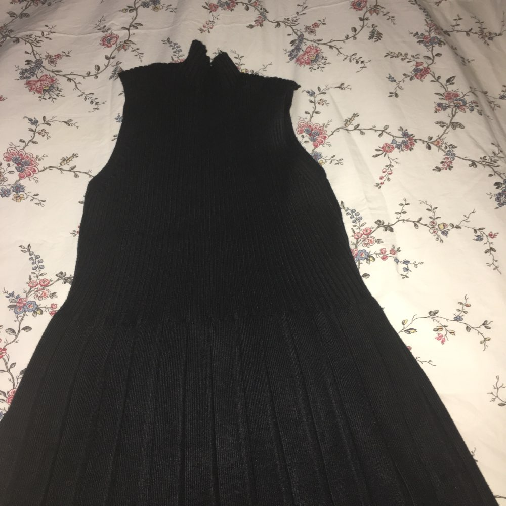 Fashion Women'S Knitted Dresses Retro High Neck Long Sleeveless Knitting Sweater Dress photo review