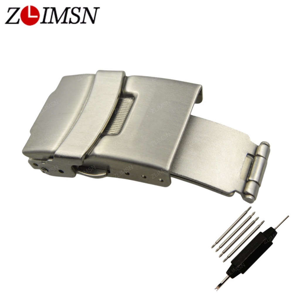 где купить ZLIMSN Stainless Steel Belt Buckles Brushed Watch Bands Automatic Double Push Button Fold Deployment Clasp Belt Buckle 20mm Pure по лучшей цене