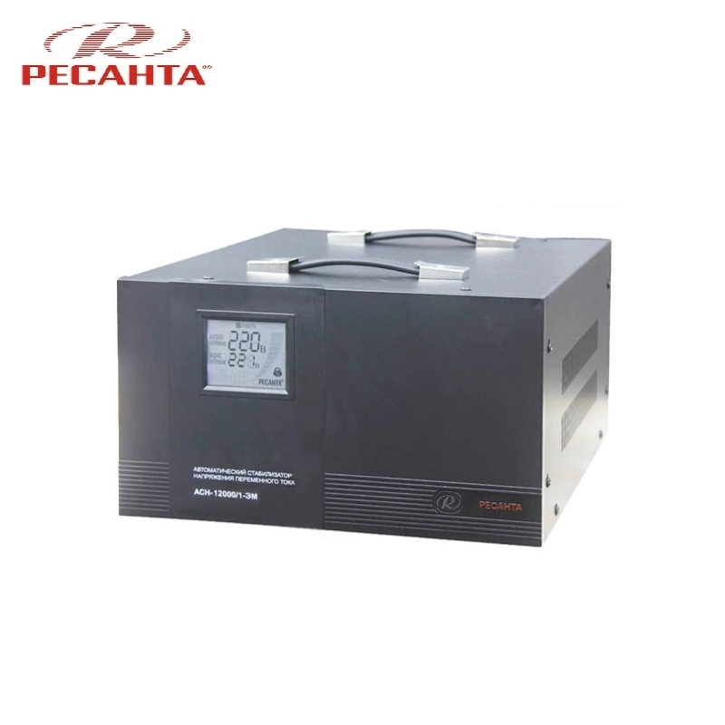 Single phase voltage stabilizer RESANTA ASN 12000/1 EM Voltage regulator Monophase Mains stabilizer Surge protect Power stab single phase voltage stabilizer resanta asn 500 1 em voltage regulator monophase mains stabilizer surge protect power stab