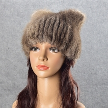 Фотография Natural Fur Hat Cute Cat Earrs Winter Crystal Beanies Women Girls Hand-made Knitted Lined Real Mink Fur Hat Cap With Fox