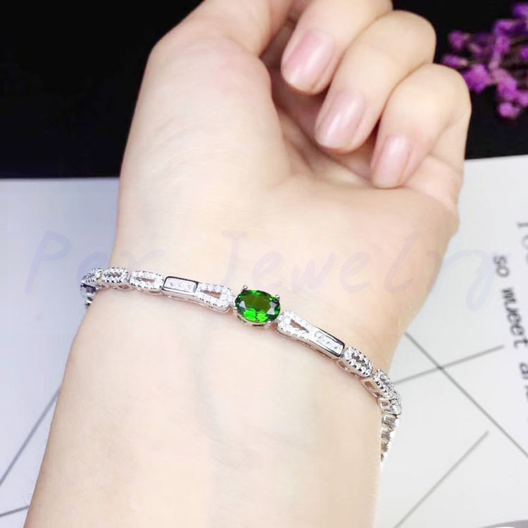 Natural diopside chain bracelet Free shipping Natural real diopside 925 sterling silver 0.9ct gemstone Fine jewelry #SB18101620