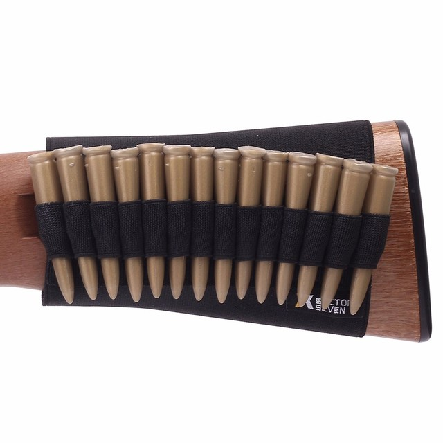Tactical Buttstock Ammo Holder Gun Rifle Stock Ammo Portable Pouch 14 Shell Cartridge Holder With Cheek Pad Combat Hunting Gear 2