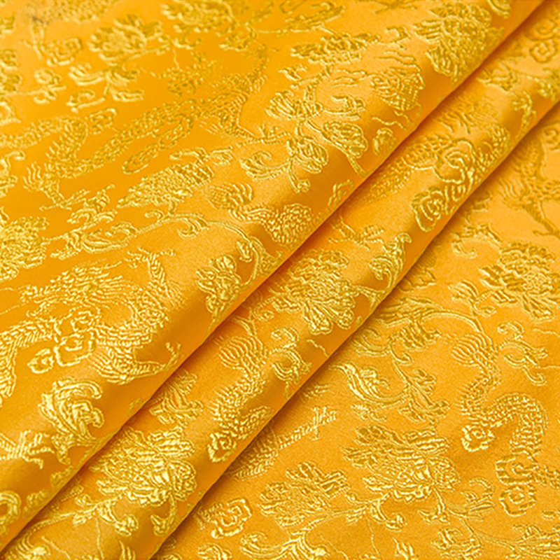 new arrival brocade yarn dyed golden color dragon fabric for patchwork tissue telas bed sheet dress children cloth 100x150cm