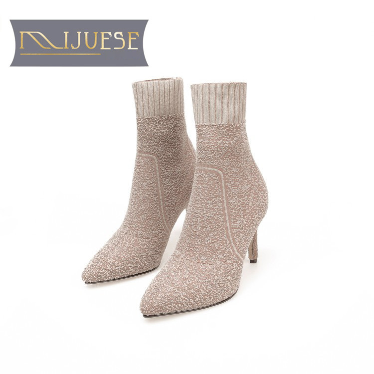 MLJUESE 2019 women ankle boots knitting Stretch fabric apricot color pointed toe autumn boots high heels women boots party dress 2015 autumn shiny piece fight color stretch fabric square head women s boots flat boots in europe and america tide personality