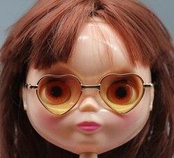 1 개 8 센치메터 귀여운 심장 모양의 안경 얼음 BJD 블라이스 인형 18 인치 미국 여자 인형 액세서리 같이 eyesglasses + 상자