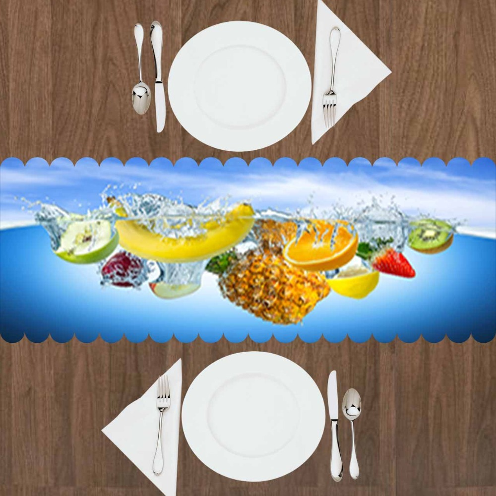 Else Blue Water In Fruits Yellow Banana Red Strawberry 3d Print Pattern Modern Table Runner  For Kitchen Dining Room Tablecloth