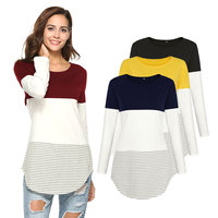 Spring Style Fashion Women Striped 3 Colors Patchwork T Shirt Kawaii Cotton Round Neck Casual Tee Lady Cute Tops 4 Colors S XXL