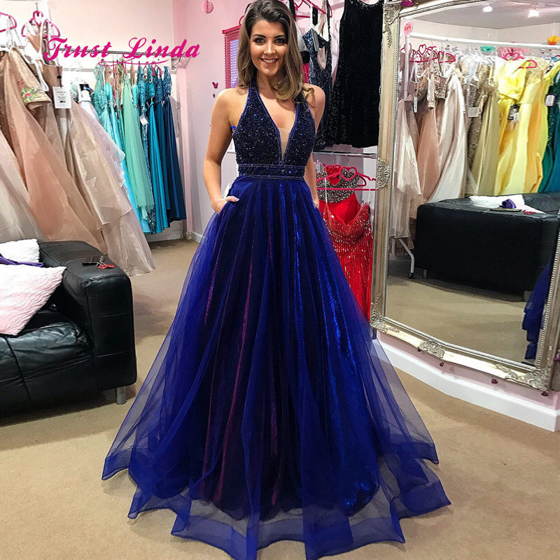 Sparkly Beaded Blue Bridesmaid Dress Halter Top Floor Length A Line Long Party Dress Women Dress For Wedding Party