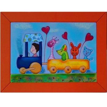 Cuadro animalitos en tren forrado de tela y pintado a mano con pastel
