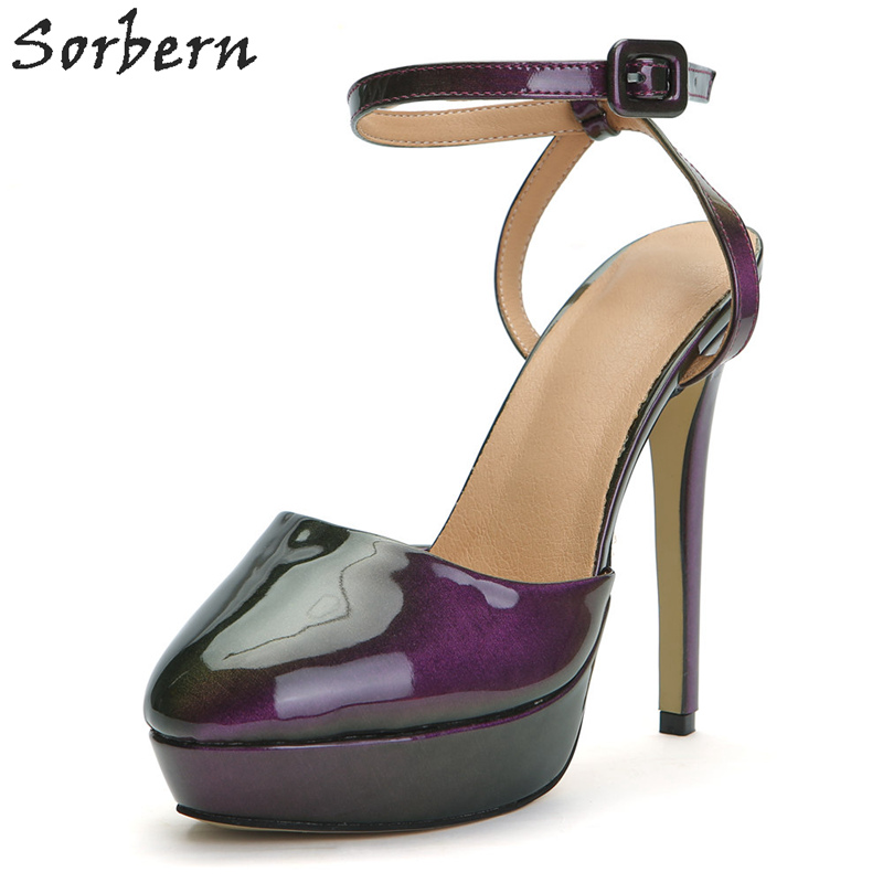 Pompes Violet Custom Color Femmes Boucle Designers Luxe Couleur Haute Personnalisé Talons pourpre Sangle Sorbern Chaussures De wdIqUFxd