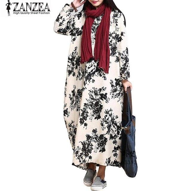 ecc4d17aeea 2018 ZANZEA Retro Womens Floral Print O Neck Long Sleeve Cotton Linen Maxi Long  Dress Casual Loose Tunic Kaftan Plus Size NEW