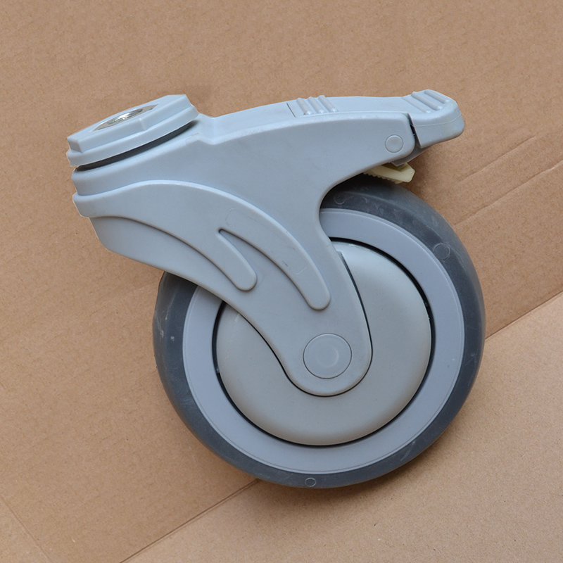 5-inch plastic synthetic rubber TPR hospital equipment medical bed chair caster with brake Ball Bearing wheel free shipping 125mm furniture caster medical bed full plastic flat panel universal swivel medical equipment wheel with brake