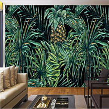 HD hand-painted Southeast Asian style palm leaf mural background wall manufacturers wholesale wallpaper mural custom photo wall