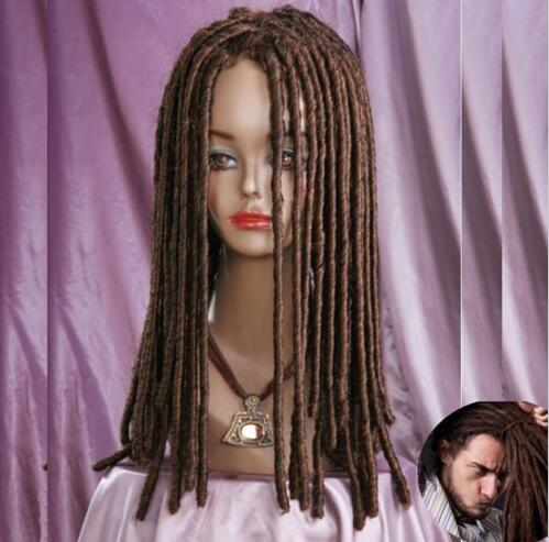 цена на Dreadlocks African brown Wig Long Curls Rolls Costume Theatre Party Cosplay Wig+CAP >>>girls Cosplay wig Free shipping