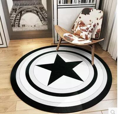 Soft Black White Star Striped Round Rug Doormat Living Room Coffee Table Mat Pad Floor Carpet