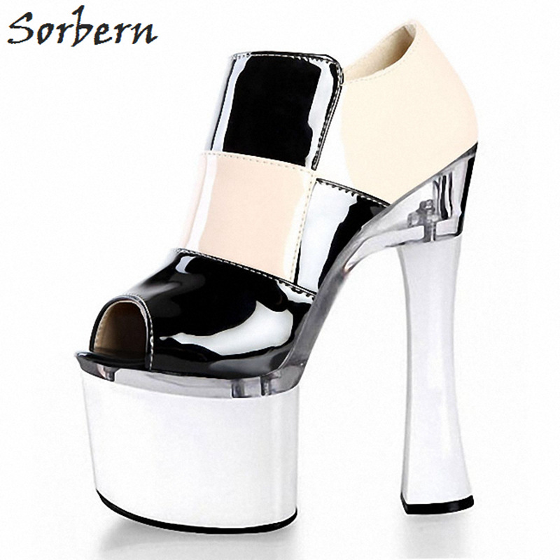 Sorbern 18Cm Square High Heels Side Zipper Platform Heels Block Heel Shoes Party Shoes Fashion Shoes 2018 Women Shoes Summer олимпийка under armour under armour un001ewbvds0