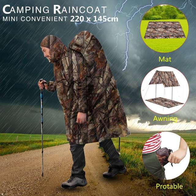 multifunctional rain coat protable hiking camping raincoat poncho