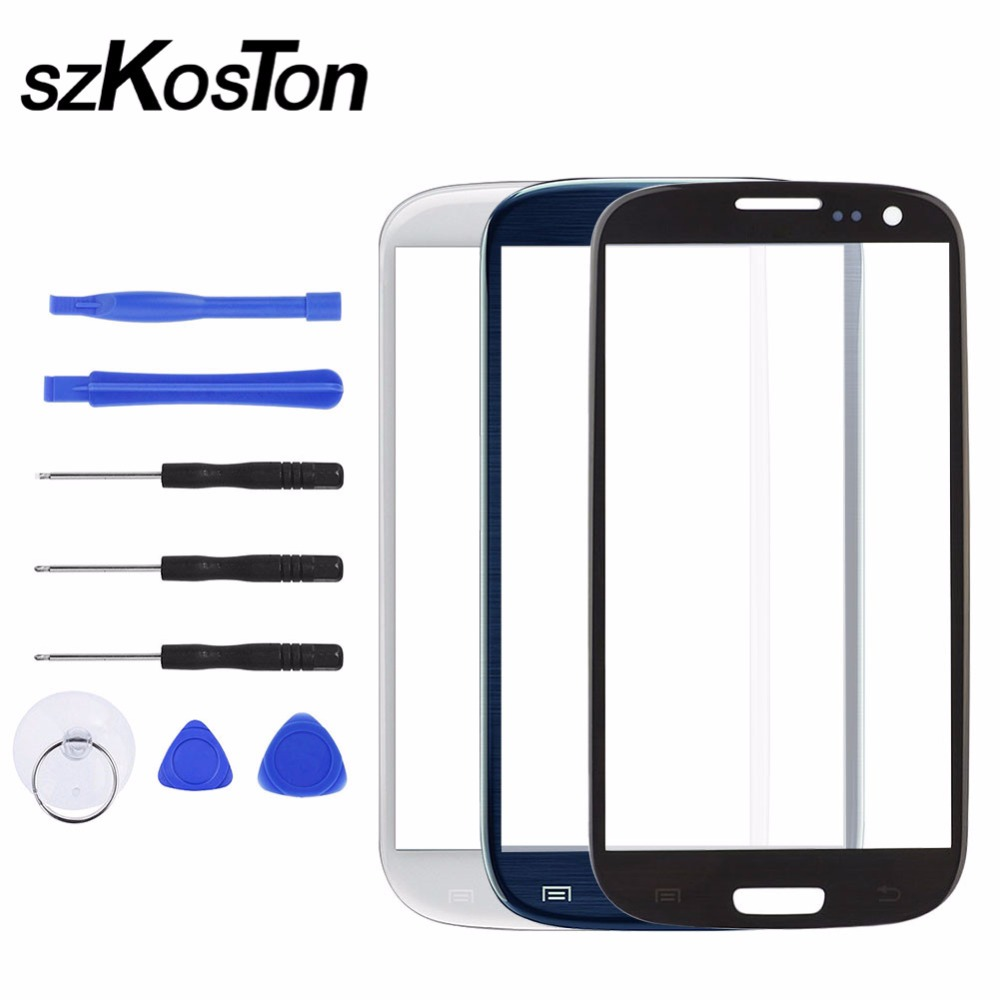 Replacement Front Touch Screen Outer Glass Panel Lens For Samsung S3 I9300 I9301 I9305 Touch Screen Replacement With Tools Kits