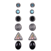 6 Pairs Vintage Bohemian Geometric Rhinestone Earrings Set for Women