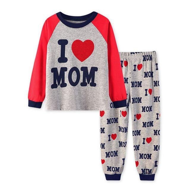 810430c1c60fb Bébé Pyjamas J aime MAMAN et PAPA Pyjamas Enfants À Manches Longues  survêtements Coeur Pyjamas