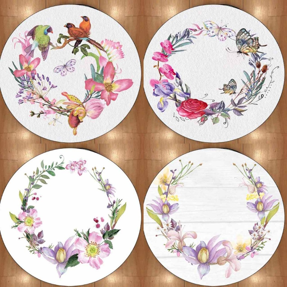 Else Floral Flowers Birds Pink Purple 3d Non Slip Microfiber Round Carpets Area Rug For Living Rooms Kitchen Bedroom Bathroom